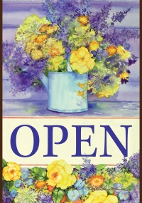 Open Flowers Vertical Double-Sided Message Flag