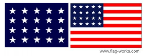 1818-1819  - 20 Star Old Glory Flag