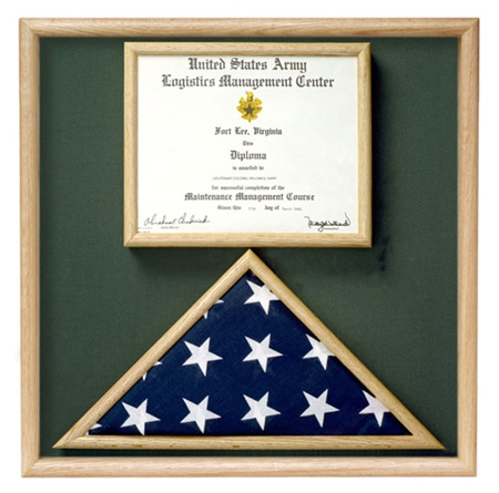 Folded Military Ceremonial Flag w/Document Case, Green