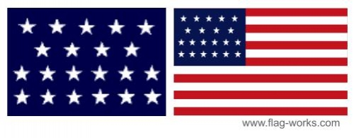 1818-1819  - 21 Star Old Glory Flag