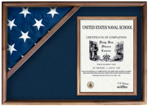 Folded Military Ceremonial Triangle Flag And Doent Case
