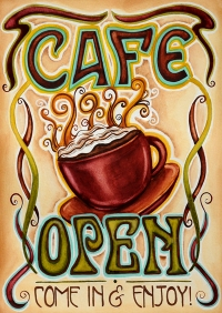 Cafe Open Vertical Double-Sided Message Flag