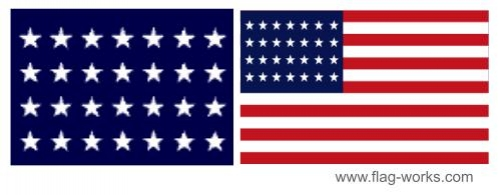 1846 - 1847 - 28 Star Old Glory Flag