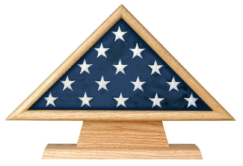 Military Casket Burial Flag Triangle on Pedestal