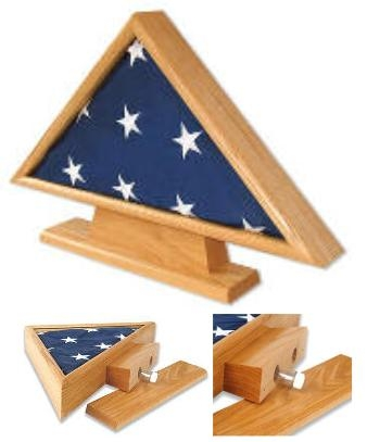 Military Casket Burial Flag Triangle on Pedestal w/ Memory Vials