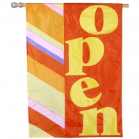 We are Open Orange Appliquéd Vertical Double-Sided Message Flag