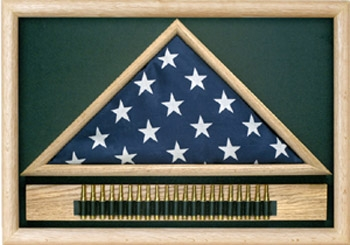 Folded Military Casket Burial Flag Case w/Cartridge Holder