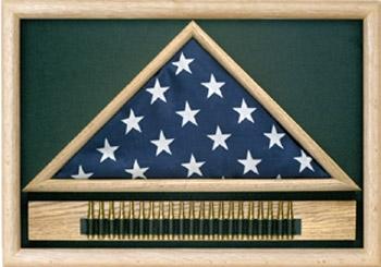Folded Military Casket Burial Flag Case w/Cartridge Holder
