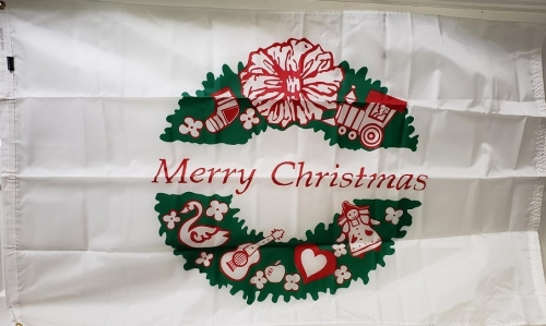 Merry Christmas Wreath Flag