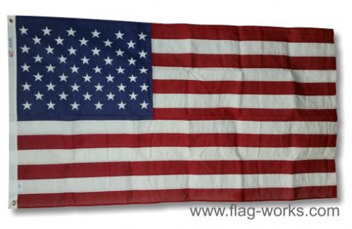 Cotton American Flag w/Sewn Stripes & Embroidered Stars