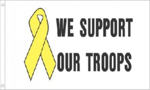 We Support Our Troops Ribbon Flag