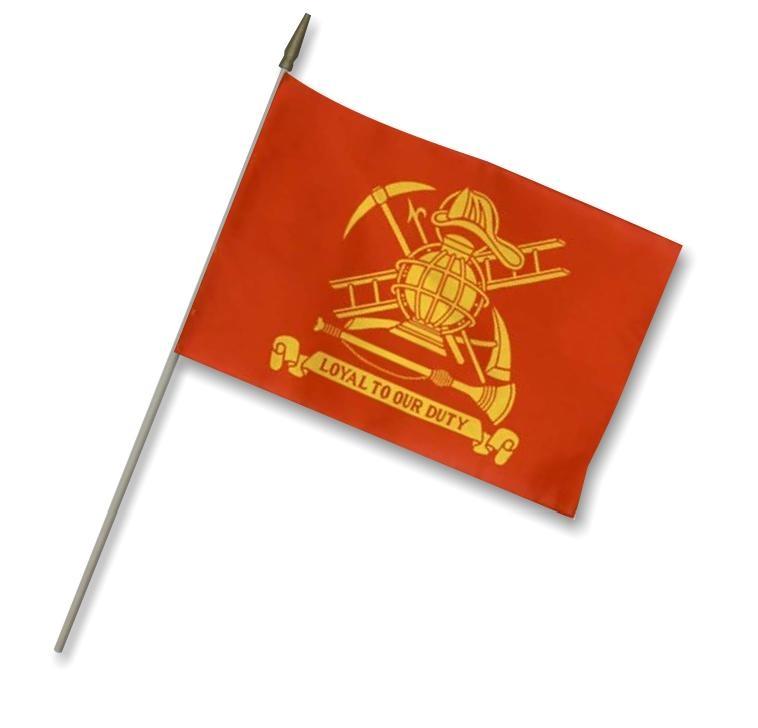 "12"" x 18"" Firemen Stick Flag"
