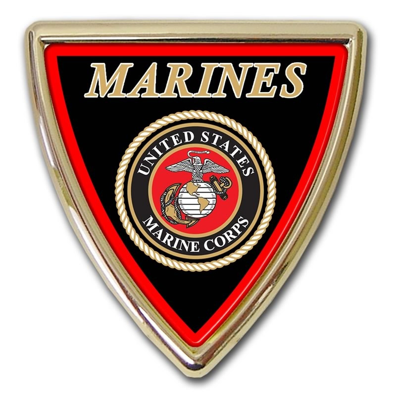 Marine Shield Chrome Automobile Emblem