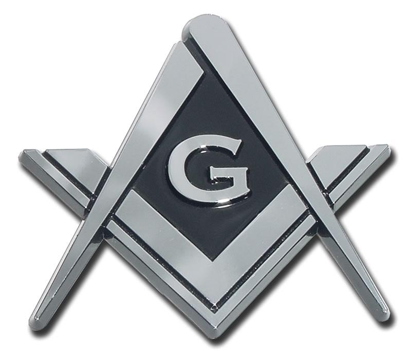 Mason Square Compass Chrome Automobile Emblem