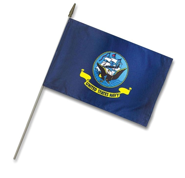"12"" x 18""  3/8"" x 30"" Shaft US Navy Stick Flag"