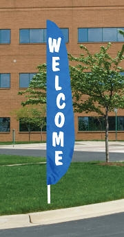 Welcome Blue Nylon Blade Flag