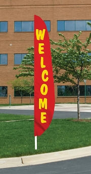 Welcome Red Nylon Blade Flag