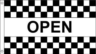 Open B&W Checkered Horizontal Message Flag