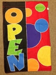 Open Dots Appliquéd Vertical Double-Sided Message Flag