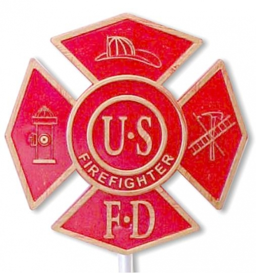 Fireman (Maltese Cross) Plastic Grave Marker, Red
