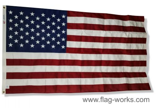 Polyester American Flag w/Sewn Stripes, Embroidered Stars & Grommets