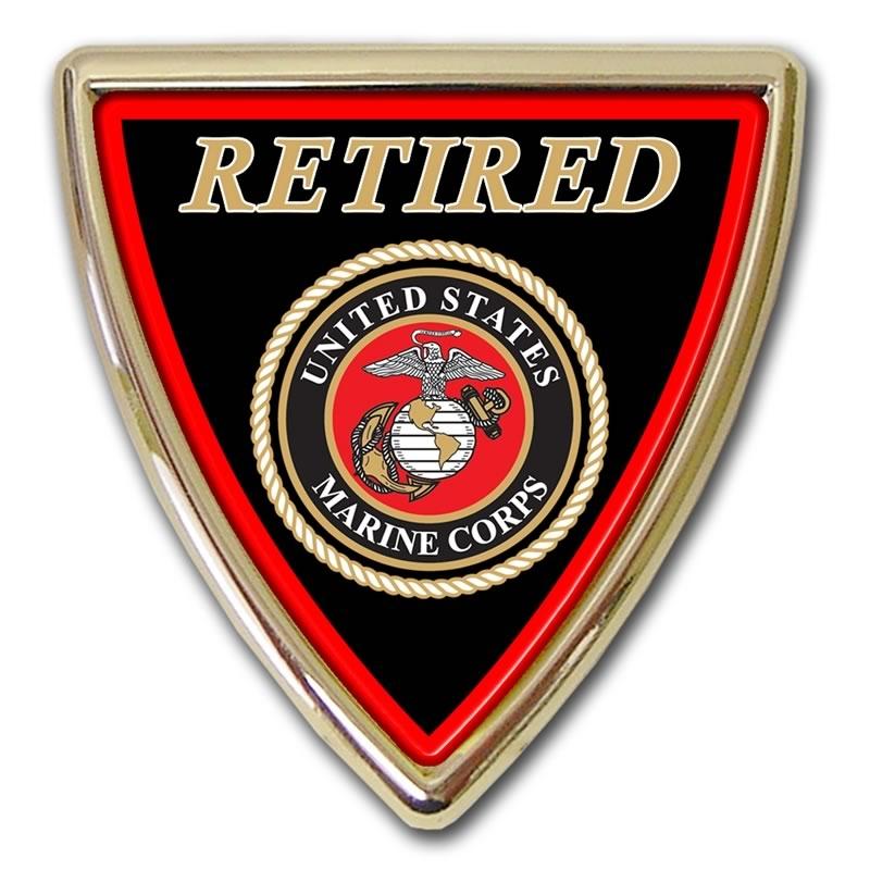 Retired Marine Shield Chrome Automobile Emblem