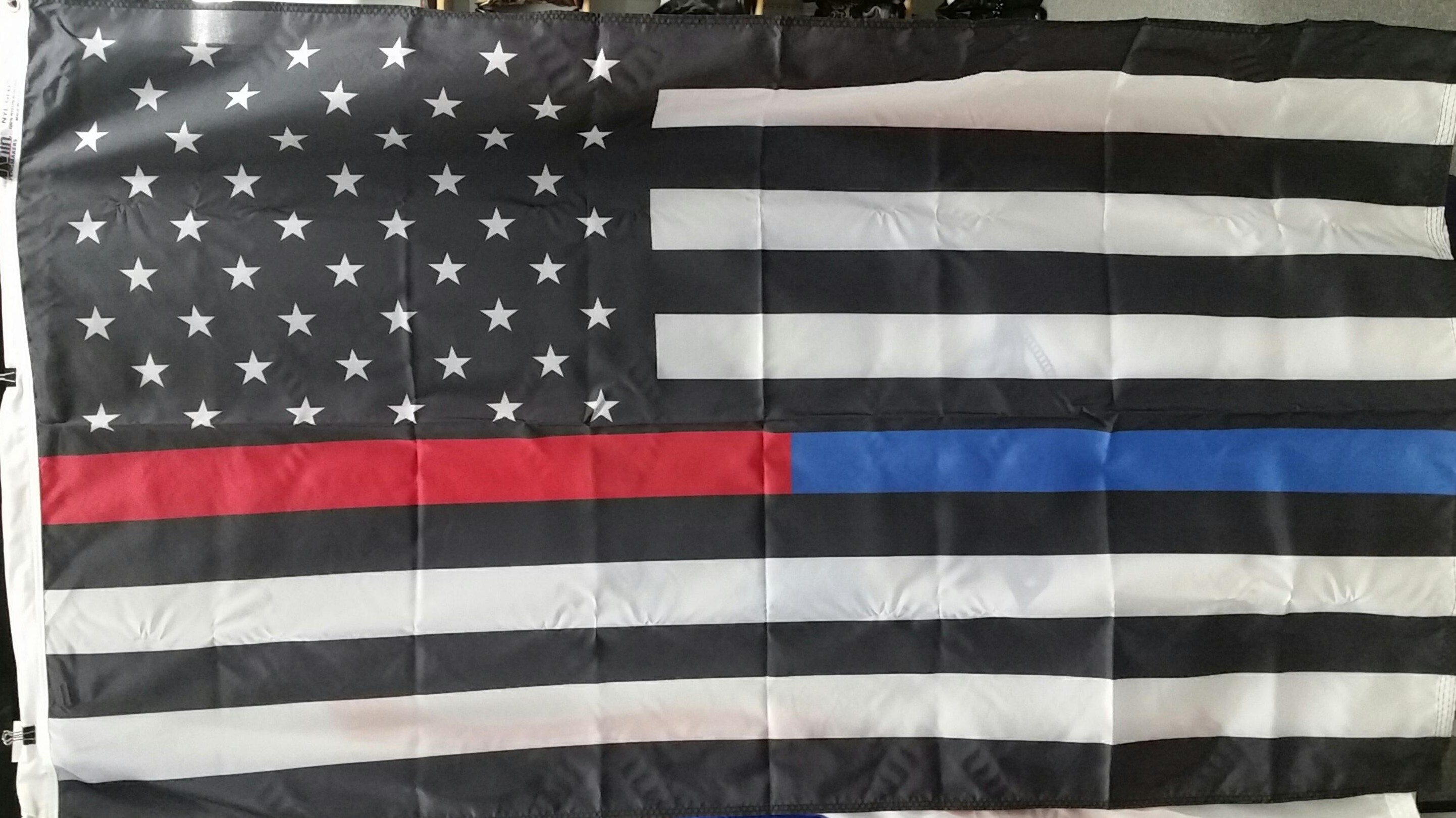 Thin Red and Blue Line American flag version