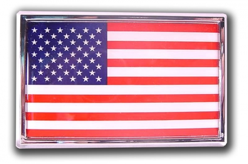 Chrome USA Flag Car Emblem