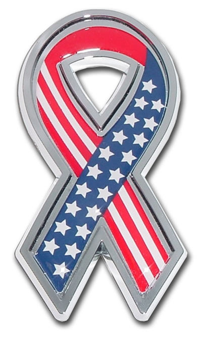 "Chrome ""Stars & Stripes"" Ribbon Auto Emblem"